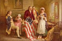 Betsy Ross showing Major Ross and Robert Morris how she cut the stars for the American flag.  George Washington sits in a chair on the left.