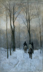 Riders in the Snow of the Woods at The Hague