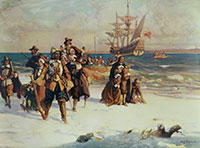 The Pilgrim Fathers arrive at Plymouth, Massachusetts on board the Mayflower, November 1620